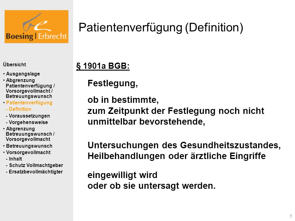 Patientenverfügung (Definition)