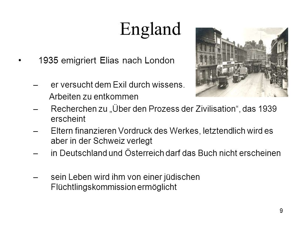England 1935 emigriert Elias nach London