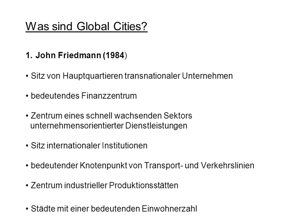 Was sind Global Cities. 1.