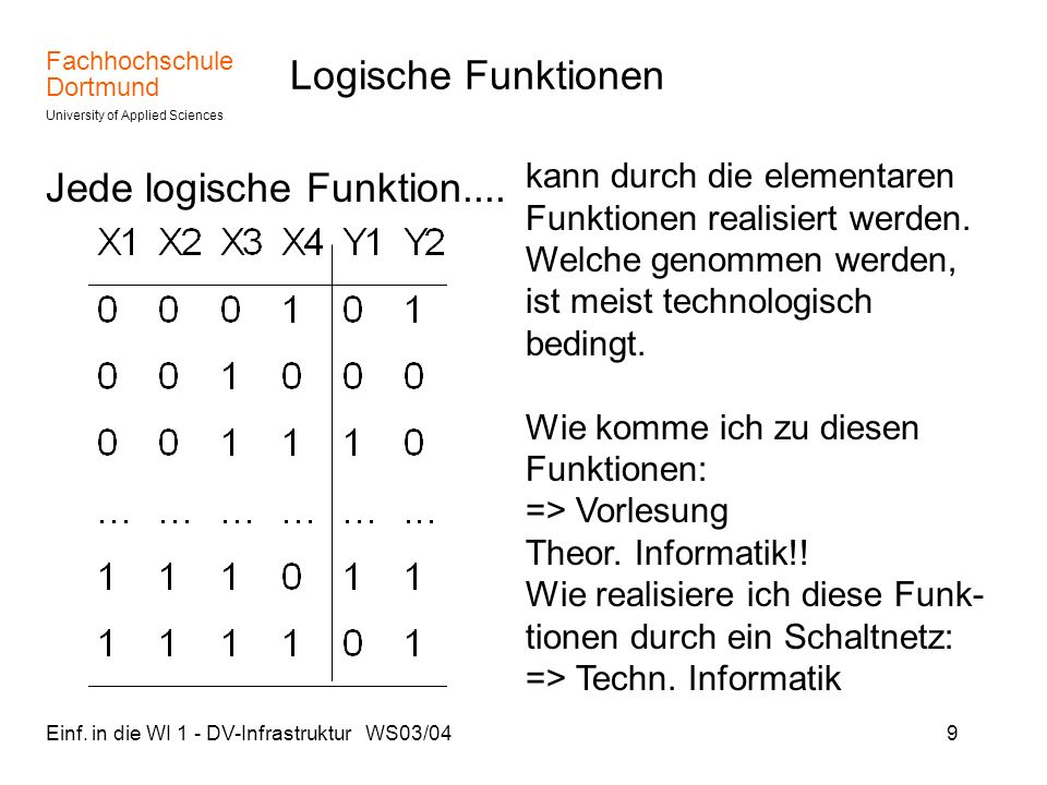 Jede logische Funktion....