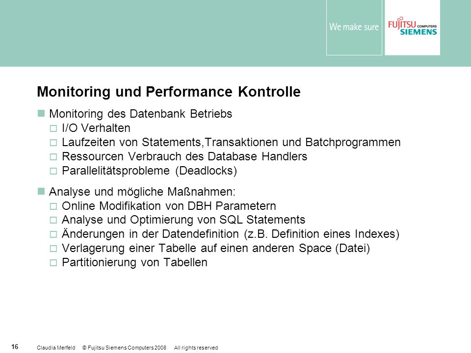 Monitoring und Performance Kontrolle