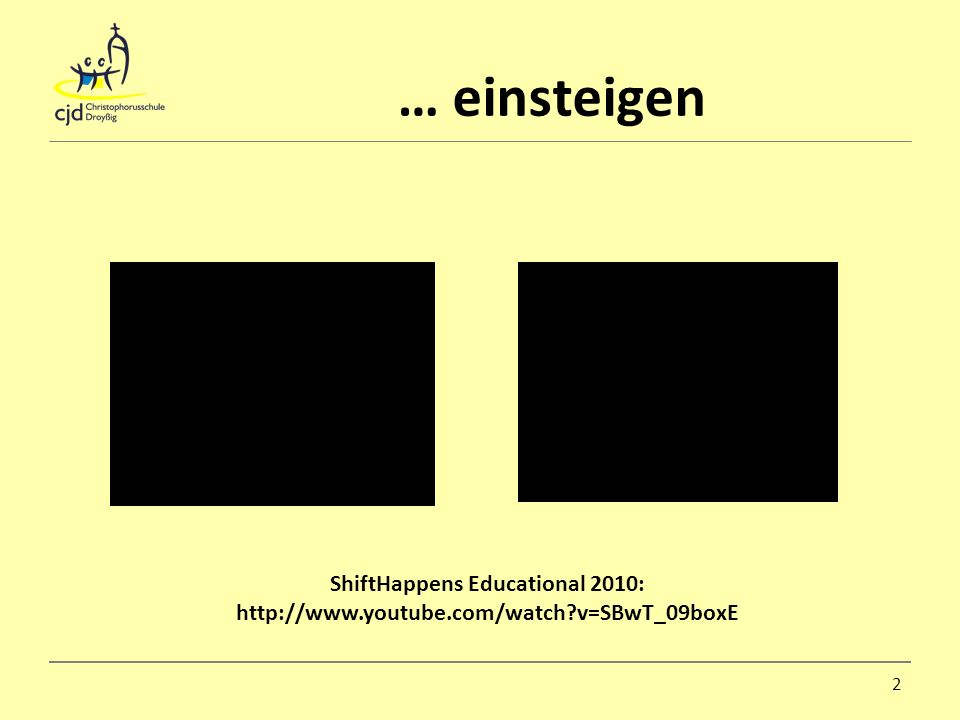… einsteigen ShiftHappens Educational 2010:   v=SBwT_09boxE