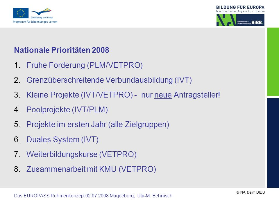 Nationale Prioritäten 2008