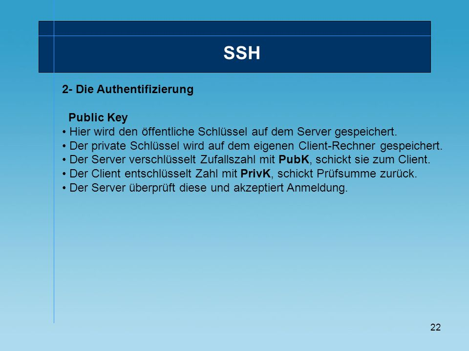 SSH 2- Die Authentifizierung Public Key