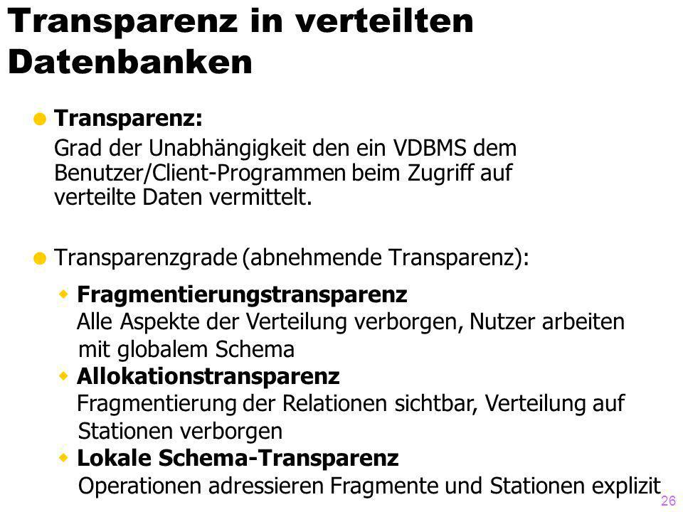 Transparenz in verteilten Datenbanken