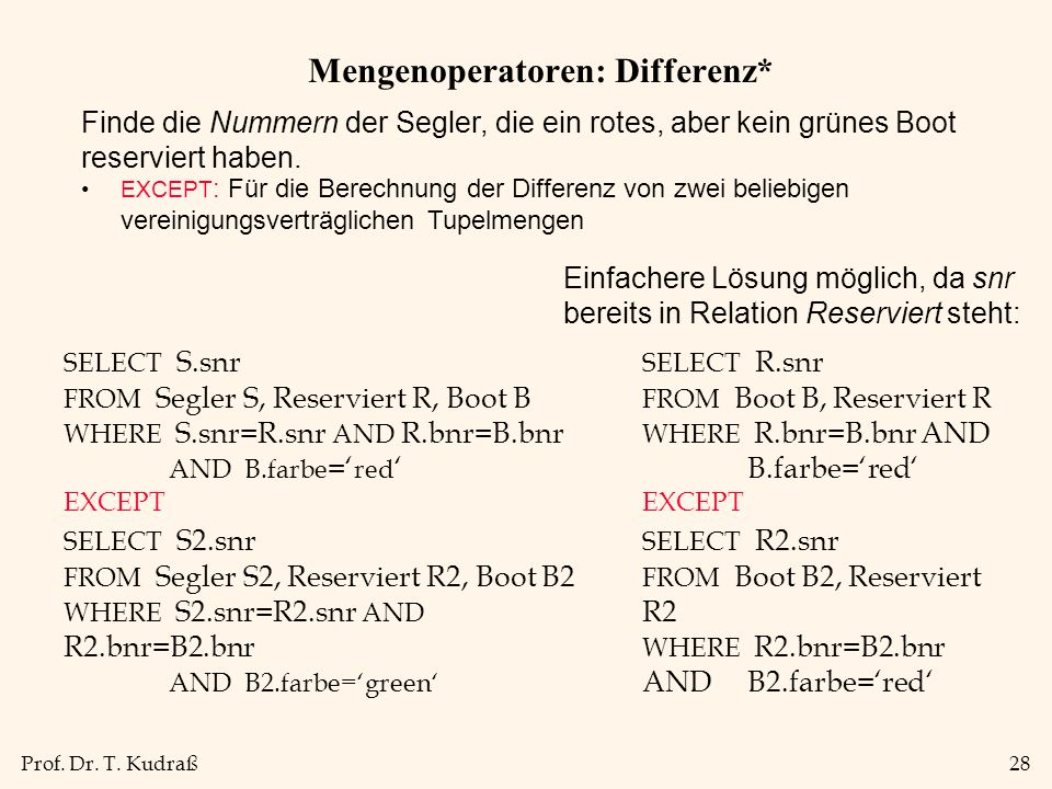 Mengenoperatoren: Differenz*