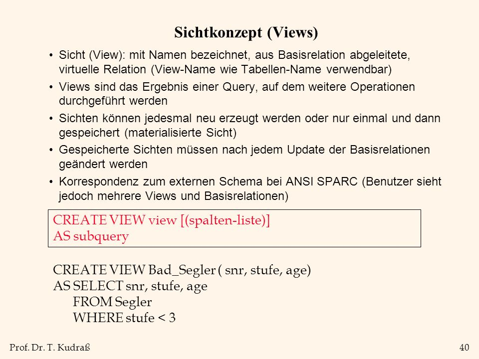 Sichtkonzept (Views) CREATE VIEW view [(spalten-liste)] AS subquery