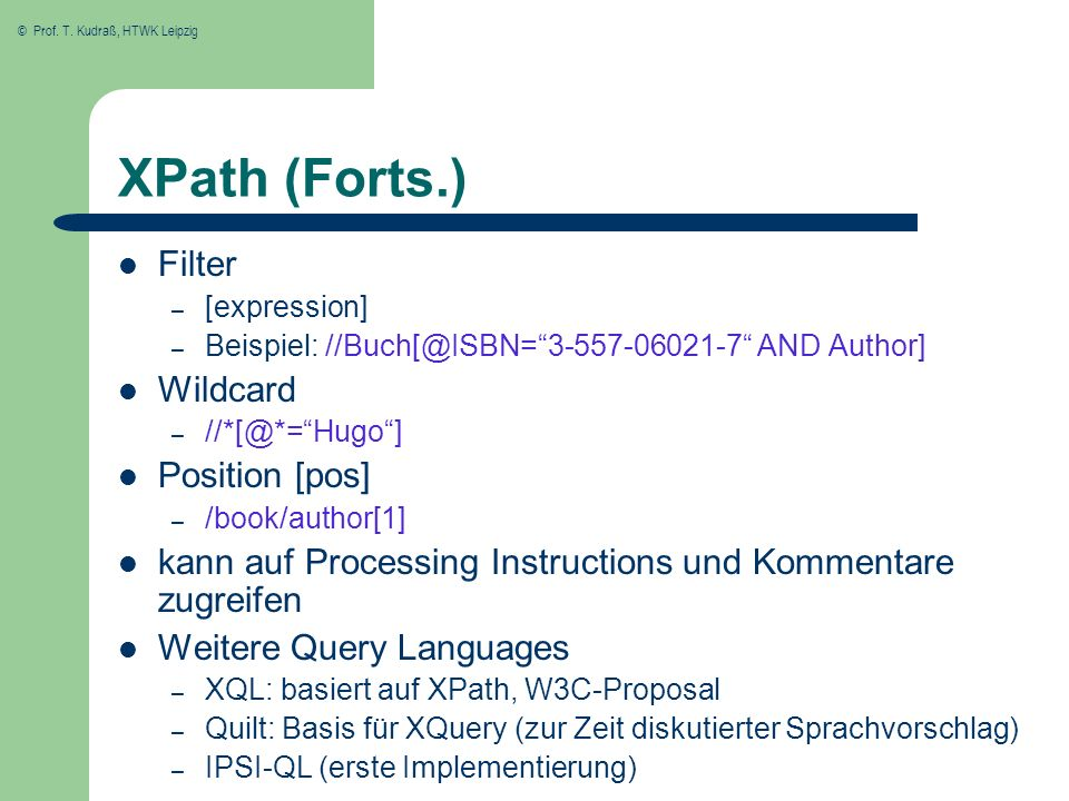 XPath (Forts.) Filter Wildcard Position [pos]