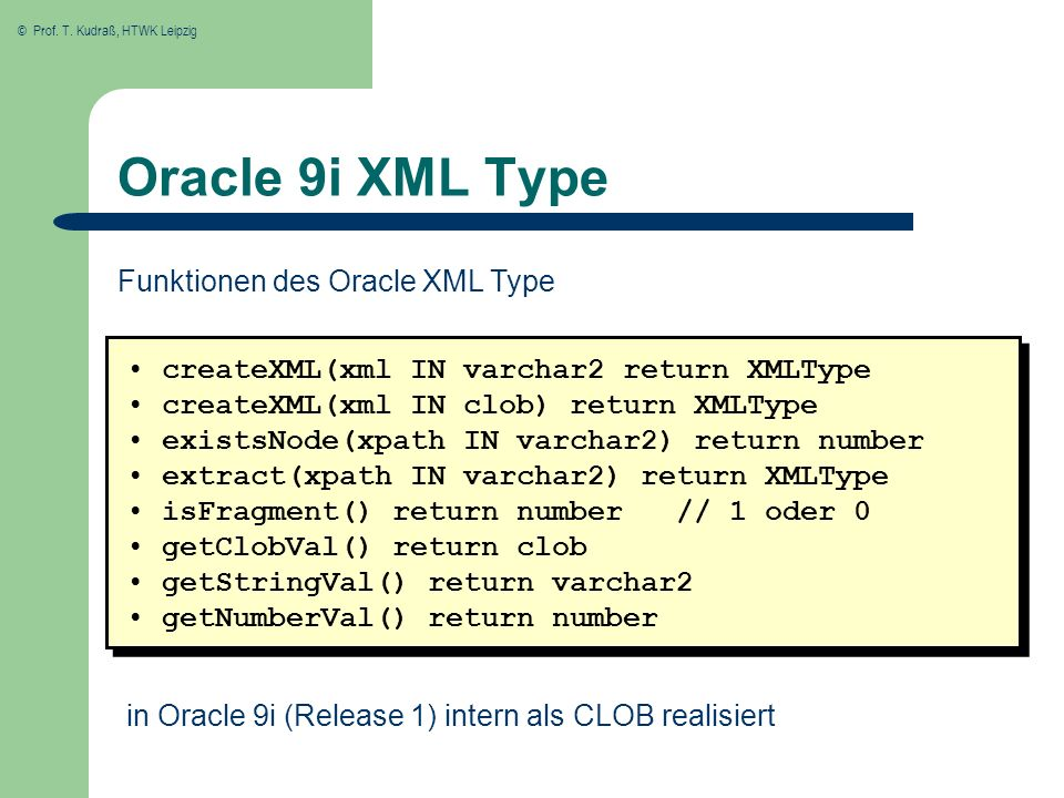 Oracle 9i XML Type Funktionen des Oracle XML Type