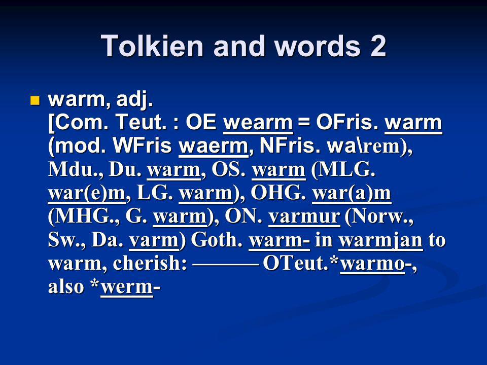 Tolkien and words 2