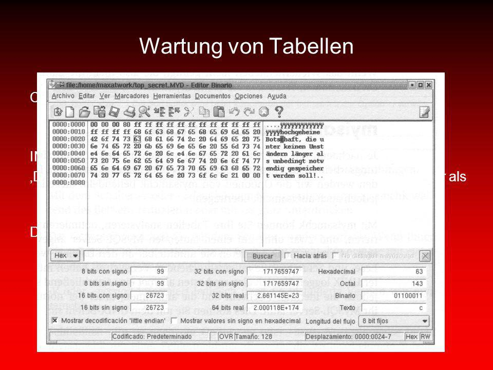 Wartung von Tabellen CREATE TABLE top_secret(