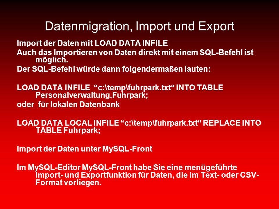 Datenmigration, Import und Export
