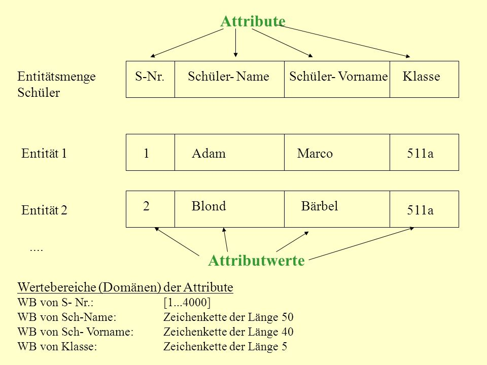 Attribute Attributwerte Entitätsmenge Schüler S-Nr. Schüler- Name