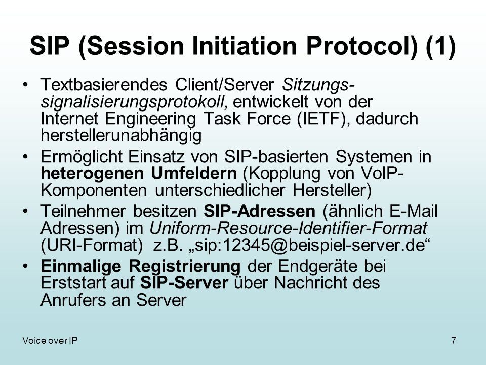 SIP (Session Initiation Protocol) (1)