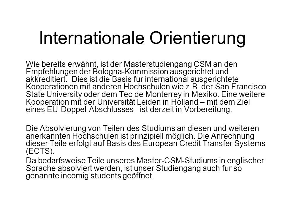 Internationale Orientierung