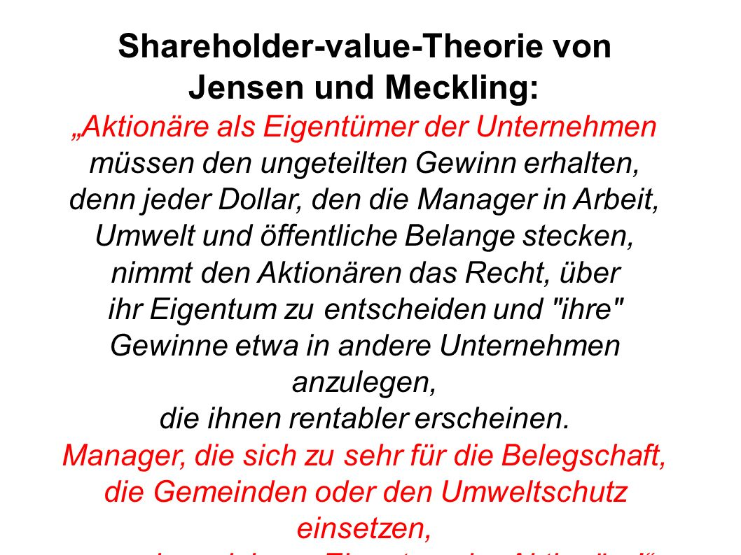 Shareholder-value-Theorie von