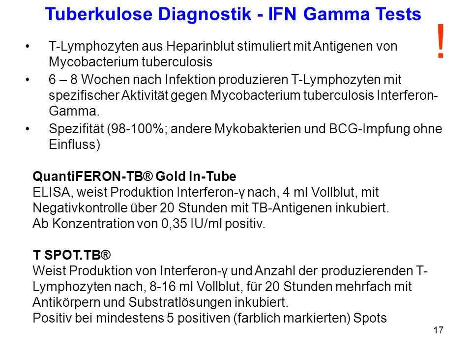 Tuberkulose Diagnostik - IFN Gamma Tests