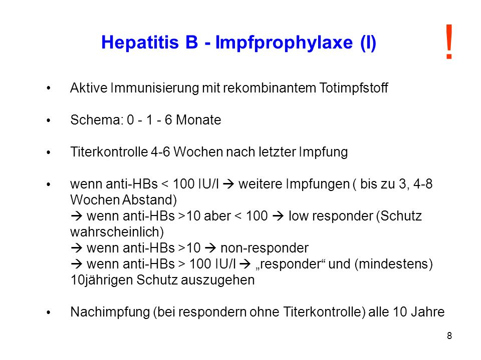 Hepatitis B - Impfprophylaxe (I)