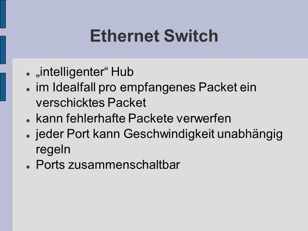 "Ethernet Switch ""intelligenter Hub"