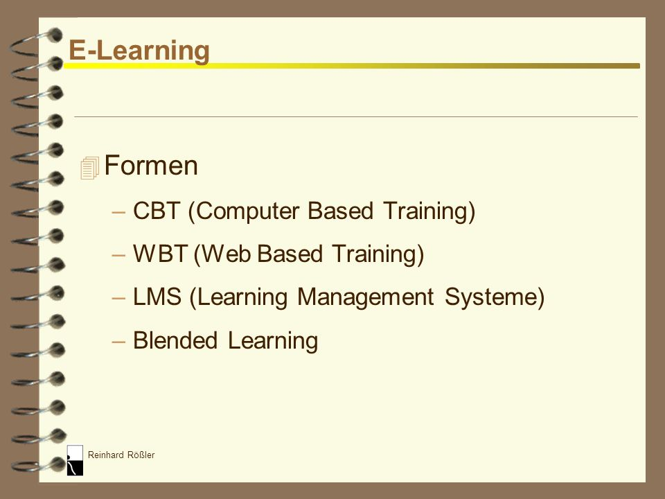 E-Learning Formen CBT (Computer Based Training)
