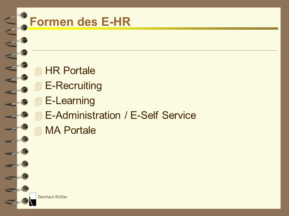 Formen des E-HR HR Portale E-Recruiting E-Learning