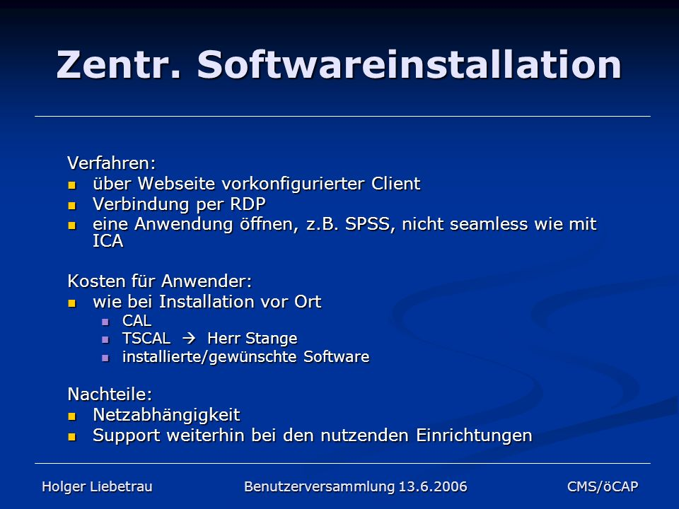 Zentr. Softwareinstallation