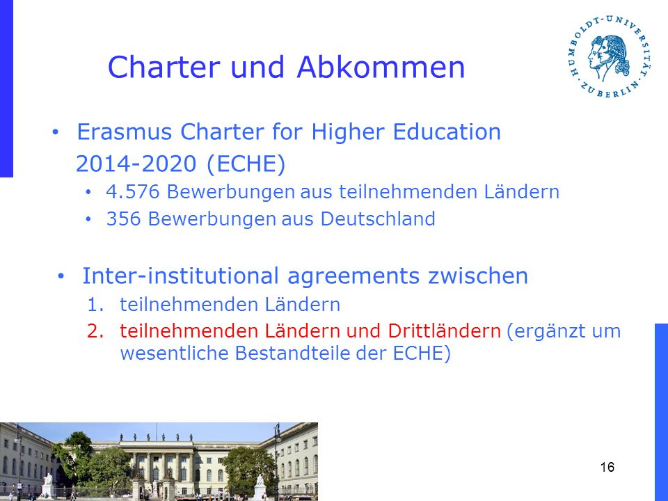 Charter und Abkommen Erasmus Charter for Higher Education