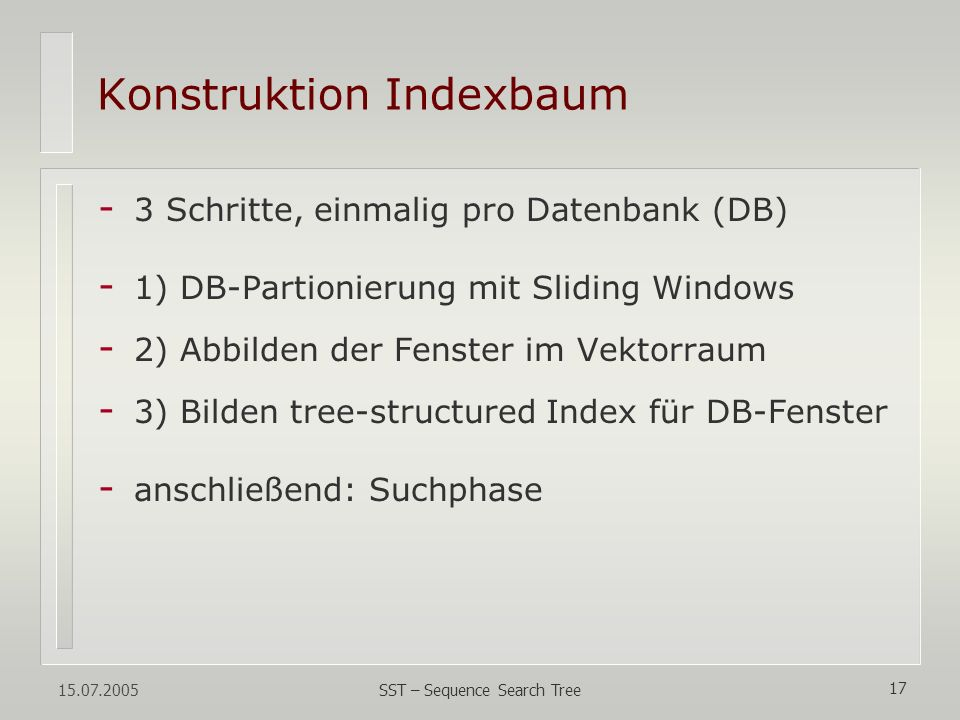 Konstruktion Indexbaum