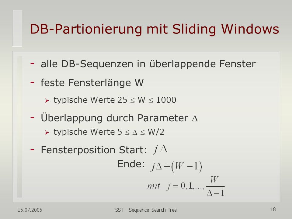 DB-Partionierung mit Sliding Windows