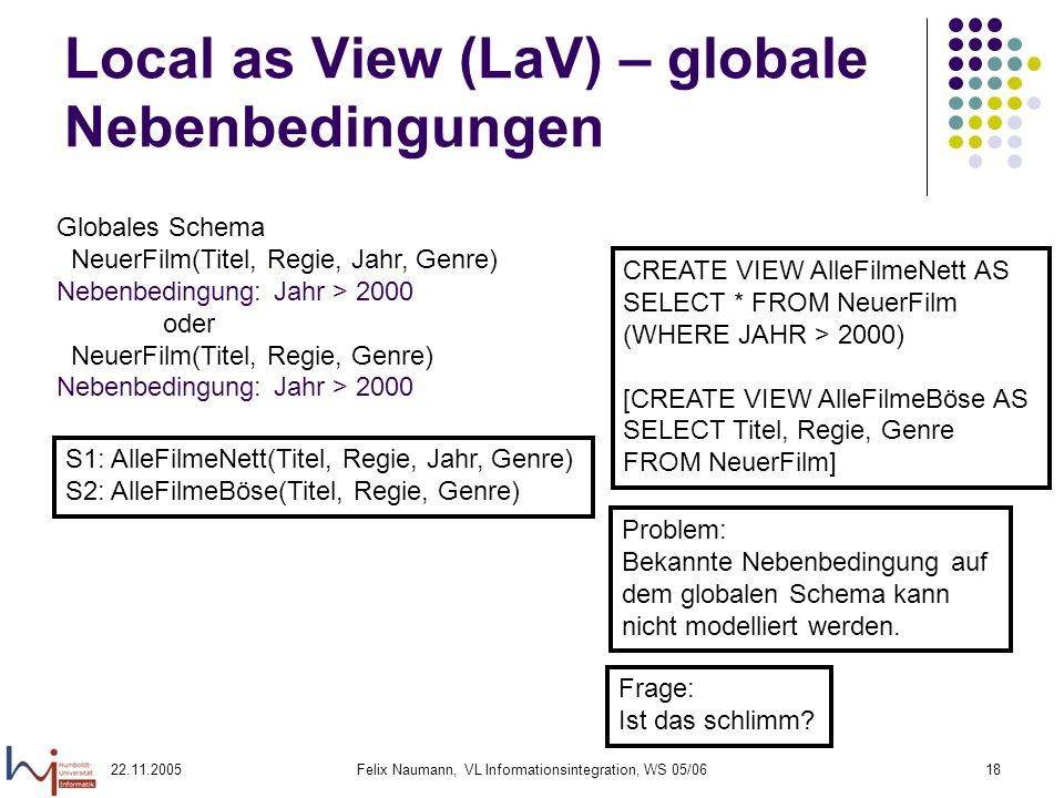 Local as View (LaV) – globale Nebenbedingungen
