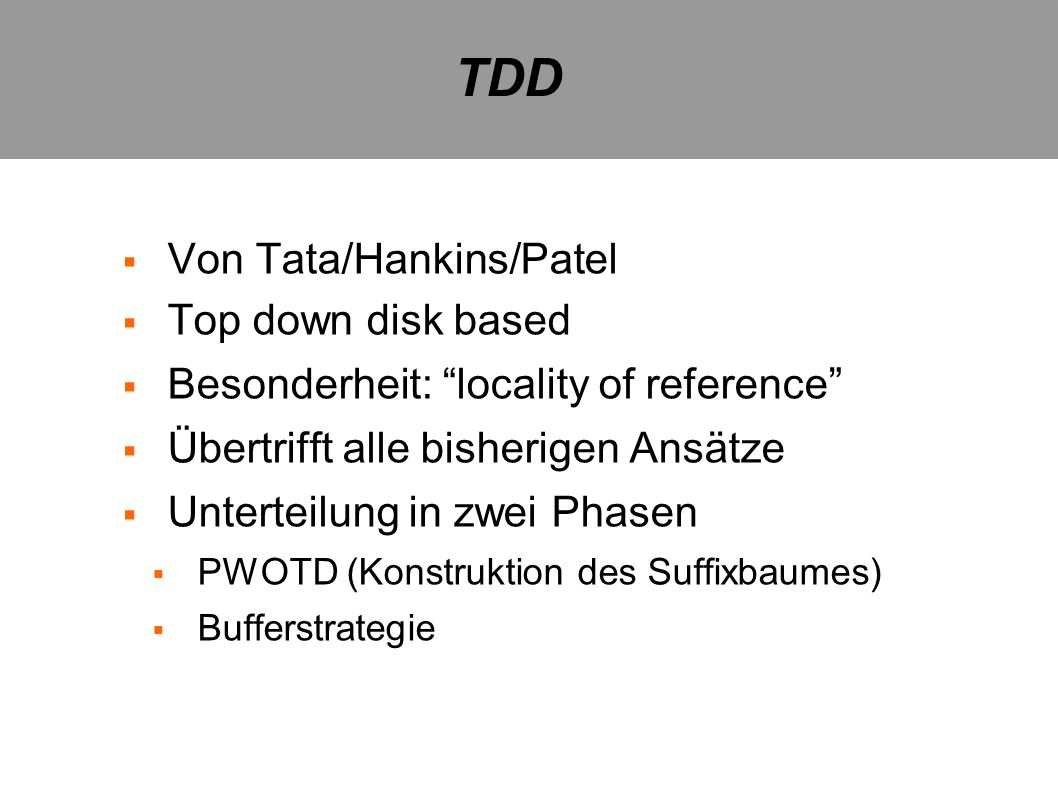 TDD Von Tata/Hankins/Patel Top down disk based