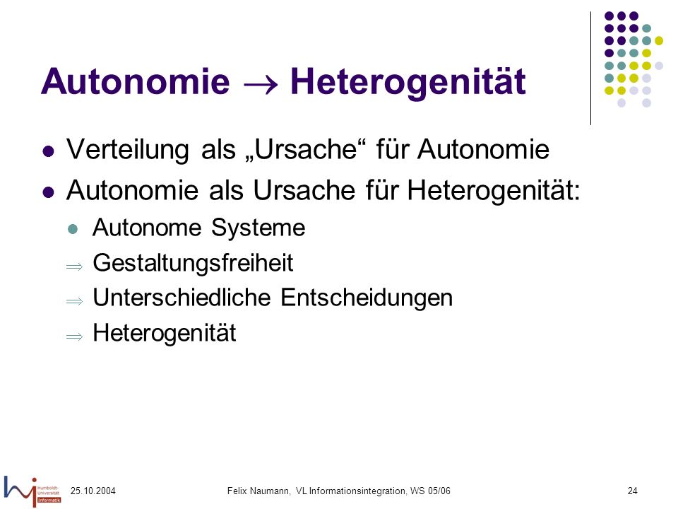 Autonomie  Heterogenität