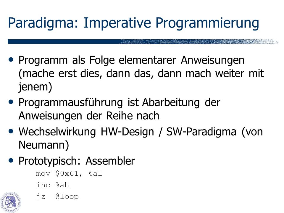 Paradigma: Imperative Programmierung