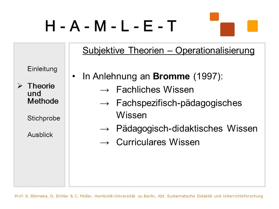 H - A - M - L - E - T Subjektive Theorien – Operationalisierung