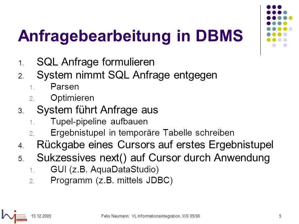 Anfragebearbeitung in DBMS
