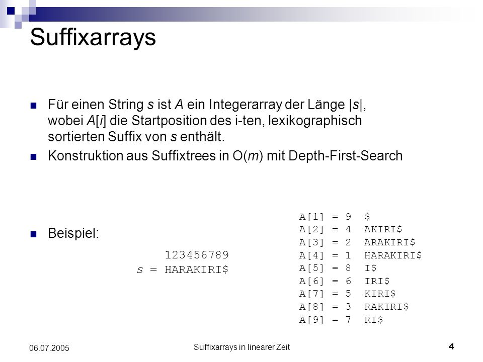 Suffixarrays in linearer Zeit