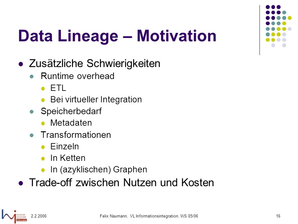 Data Lineage – Motivation