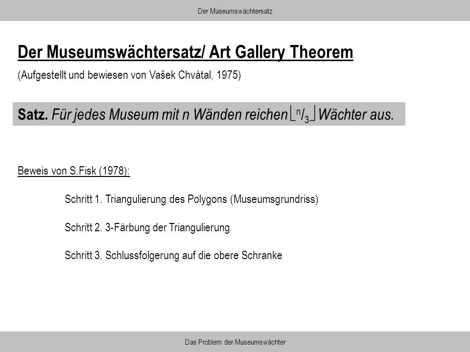 Der Museumswächtersatz/ Art Gallery Theorem