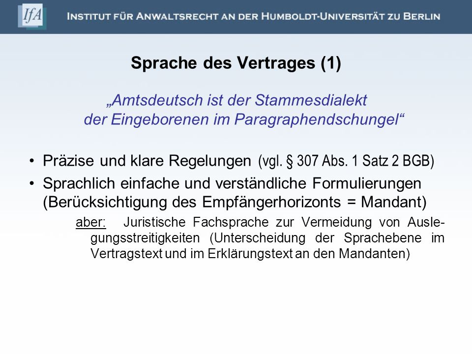 Sprache des Vertrages (1)