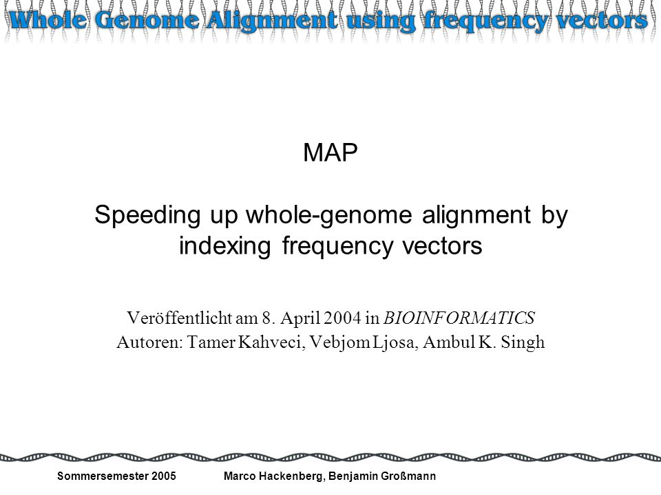 MAP Speeding up whole-genome alignment by indexing frequency vectors