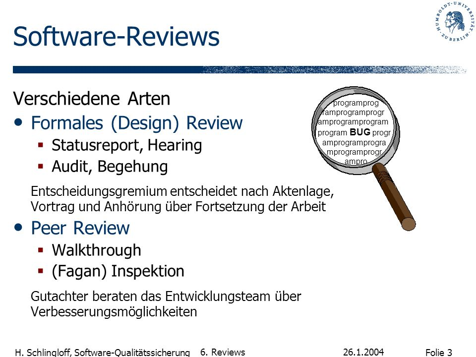 Software-Reviews Verschiedene Arten Formales (Design) Review