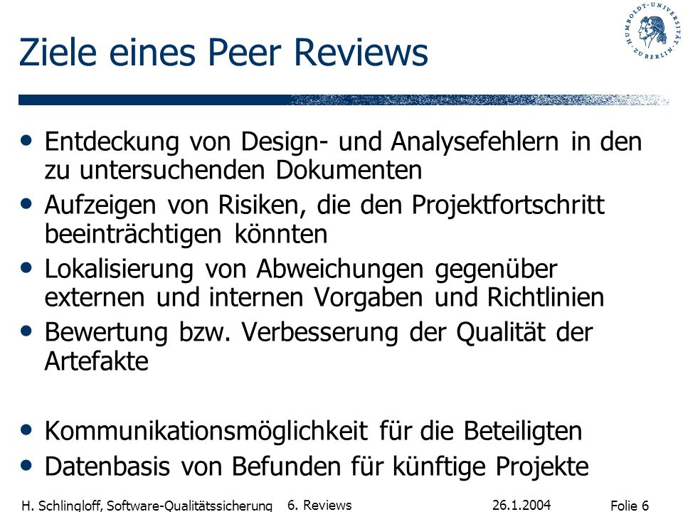 Ziele eines Peer Reviews
