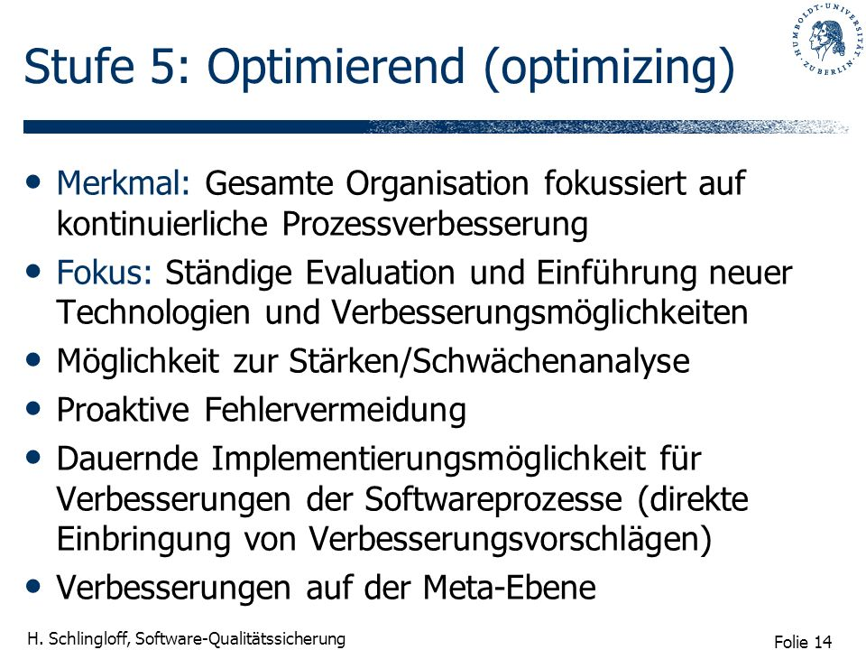 Stufe 5: Optimierend (optimizing)