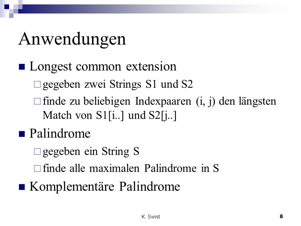 Anwendungen Longest common extension Palindrome