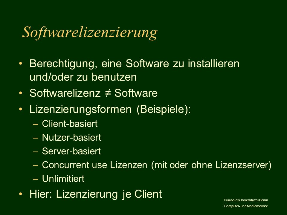 Softwarelizenzierung