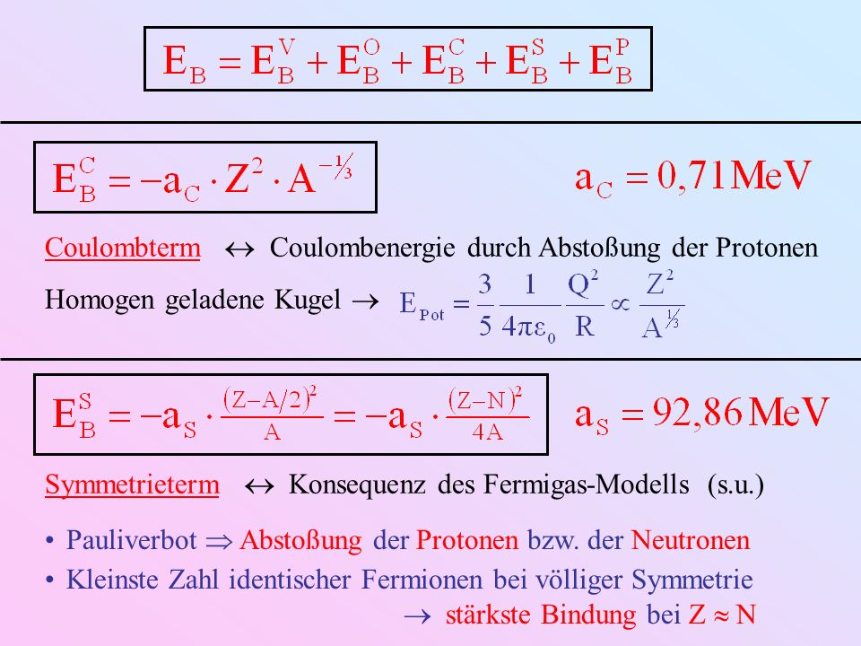 Coulombterm  Coulombenergie durch Abstoßung der Protonen
