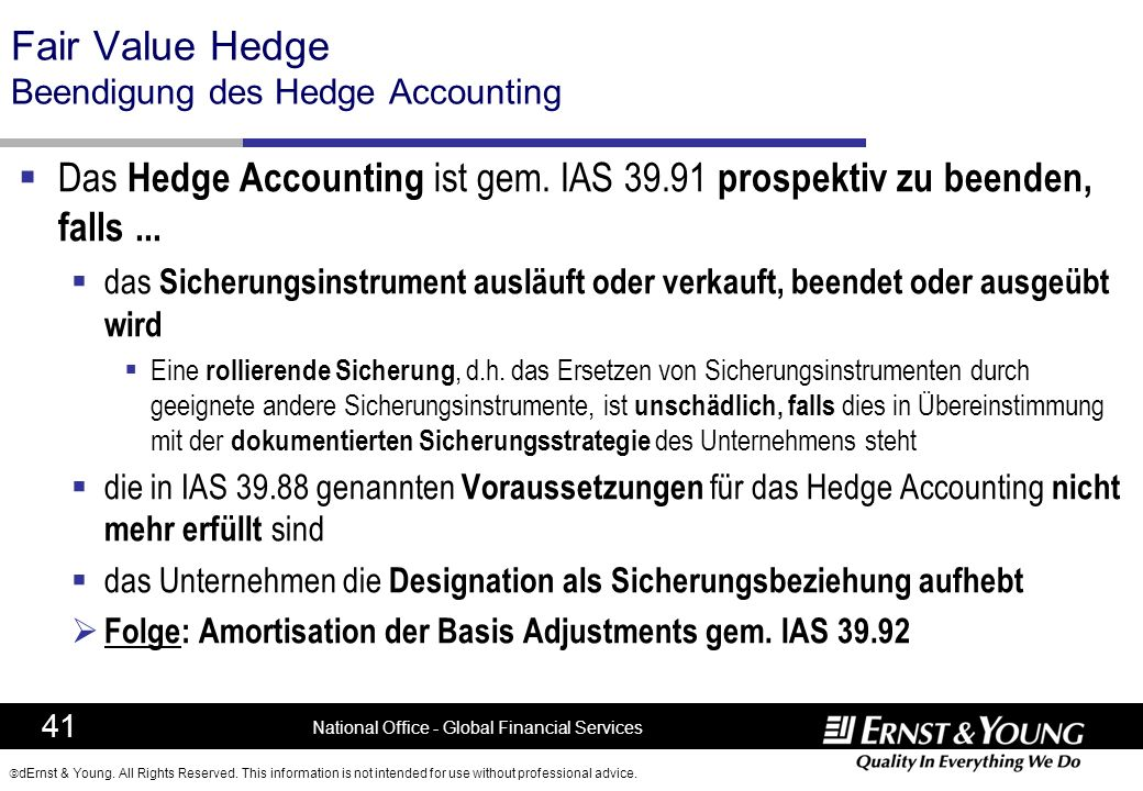 Fair Value Hedge Beendigung des Hedge Accounting
