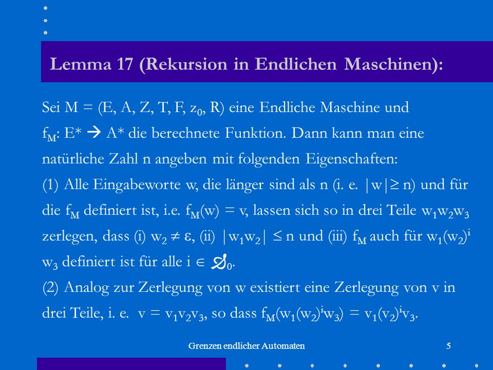 Lemma 17 (Rekursion in Endlichen Maschinen):