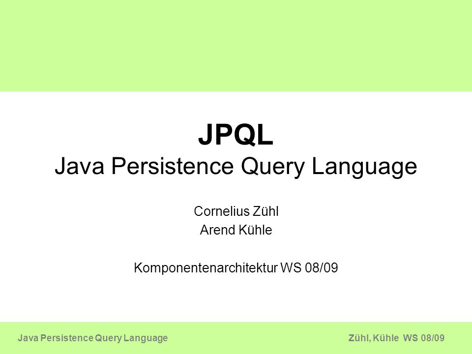 JPQL Java Persistence Query Language
