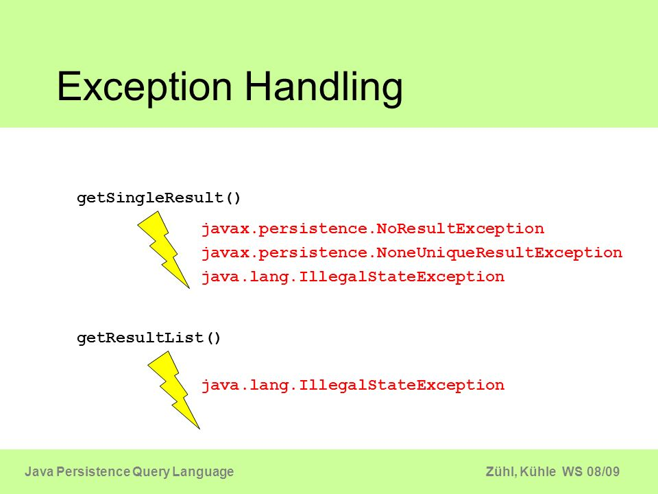 Exception Handling getSingleResult()